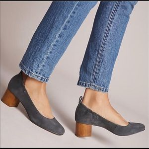 Anthro Kelsi Dagger Suede W/ Wooden Block Heel
